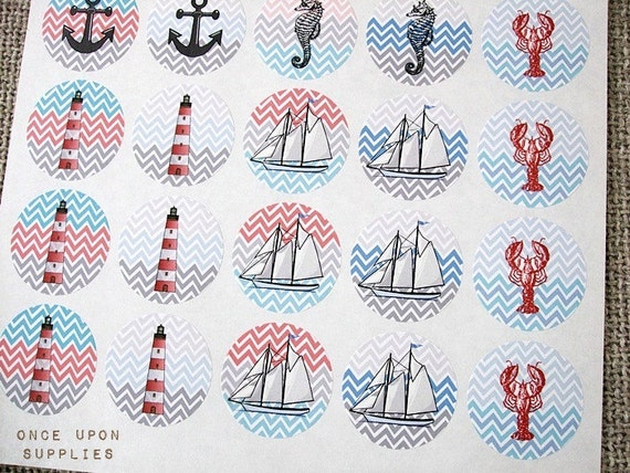 "30 Nautical Theme Round Stickers 1.5"" Zig Zag Pattern Chevron Lighthouse Sailboat Seahorse Lobster Anchor Summer Beach Stickers"