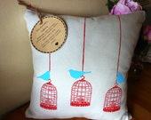 Eco friendly, 100% Hemp Cushion with Birdcage and Bird Design.