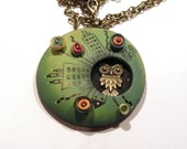 Free shipping - One of a kind - Owl in the city polymer clay pendant necklace