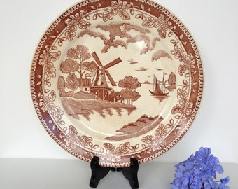 Vintage Brown Willow Ware Plate