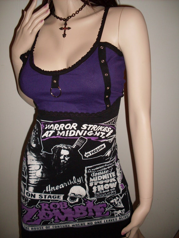 DIY ROB ZOMBIE Mini Dress Gothic Heavy Metal Halloween Punk Clubwear Zombie Monster Dark