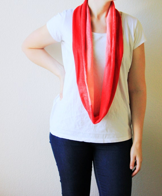 Red T Shirt Scarf Recycled T Shirt Infinity Scarf Bleached Womens Accessories