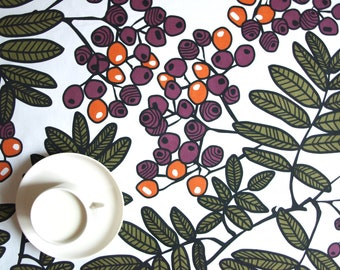 Table runner or napkins white orange purple berries , also napkins , table runner , pillow cover , curtains available, great GIFT