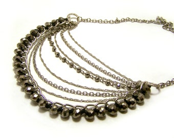 Layered Beaded and Silver Chainmaille Dramatic Statement Necklace / Gift for Her