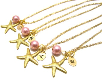 Custom Initial Hand Stamped, Gold Starfish and Glass Pearl Personalized Necklace / Gift for Her