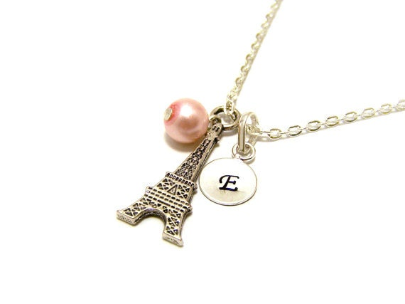 On Sale - Personalized Hand Stamped Initial Glass Pearl and Eiffel Tower Charm Sterling Silver Necklace / Paris Necklace / Gift for Her