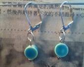 Ceramic Aqua Earrings