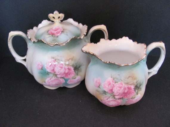 RS Prussia Large Covered Sugar Bowl and Creamer Cream Pitcher - c.1904