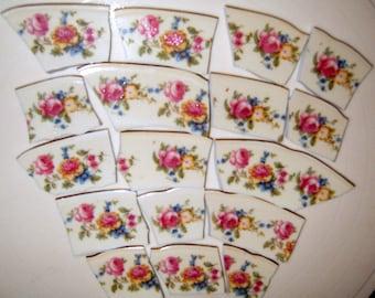 Vintage Broken China Mosaic Focal Tiles,  Jewelry China, Mosaic Supplies, Hand Cut, Jewelry Supplies, Rose China