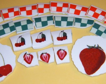 Mosaic Focals and Tiles, Hand Cut , Mosaic Supplies, Jewelry Supplies, Cherries, Strawberries