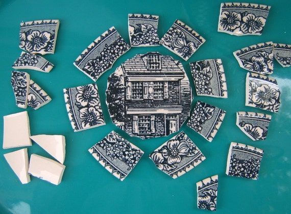 Mosaic Focal and Tiles  Blue Transferware, Hand Cut Mosaic Supplies