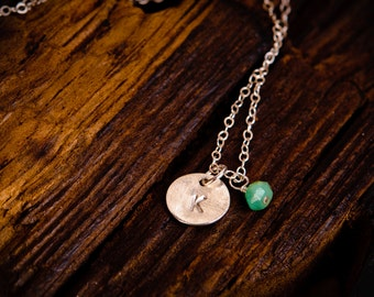 Tiny Initial Necklace with Birthstone, Sterling Silver Mini Initial Charm,  Dainty Initial Necklace, Personalized  Silver Initial Necklace
