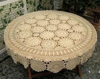 Handmade Crocheted Vintage Round  Tablecloth  Beige( Many Size Avaliable)