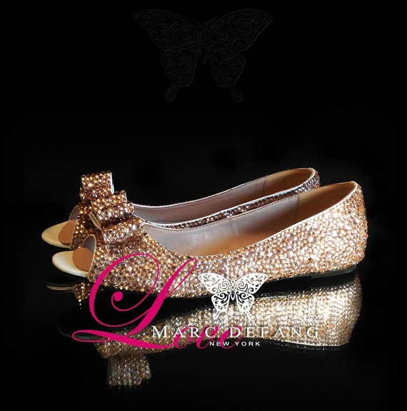 3-7mm Mixed Champagne Crystals, Luxury Peep Toe Flats