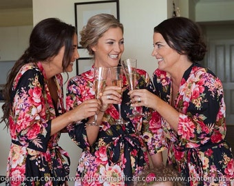 Bridesmaids Gift floral Kimono crossover, cotton wrap around pre wedding getting ready bridesmaid robes, bridal party, custom made robes