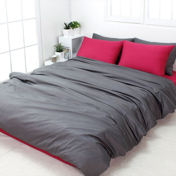 items similar to 820tc high quality solid dark gray queen duvet cover set on etsy. Black Bedroom Furniture Sets. Home Design Ideas