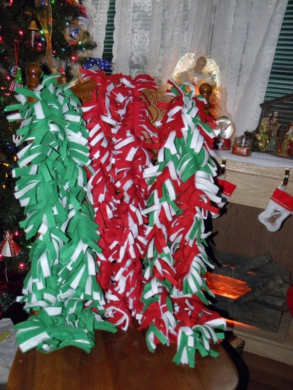 New handmade fleece scarves christmas holiday colors red white