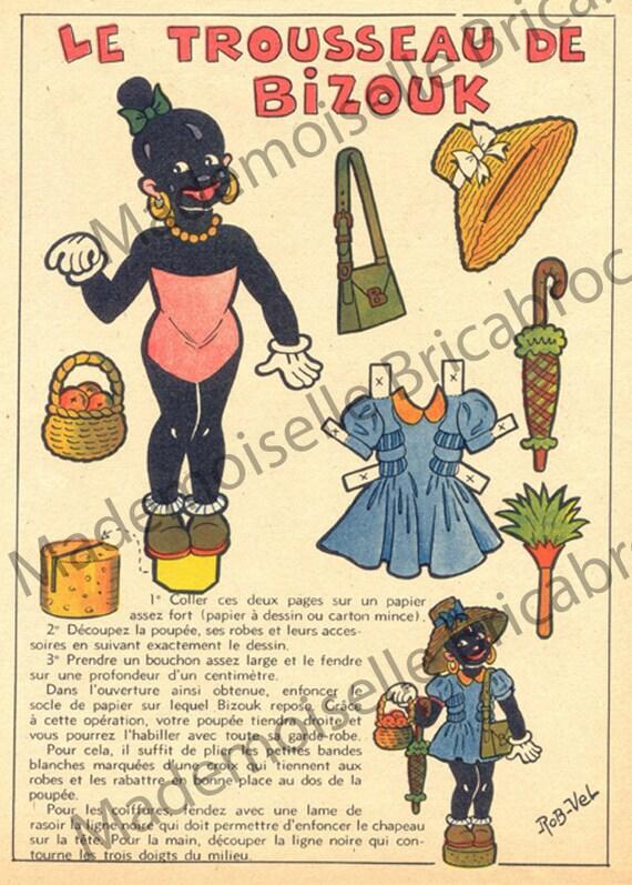 FRench vintage paper doll. Digital download - paper ephemera