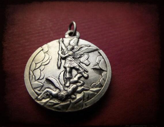 Antique french Archangel st Michael medal - silver  religious pendant-devotion medal