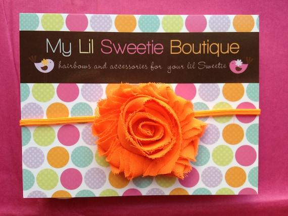 Baby Girl Headband - Neon orange chiffon flower headband