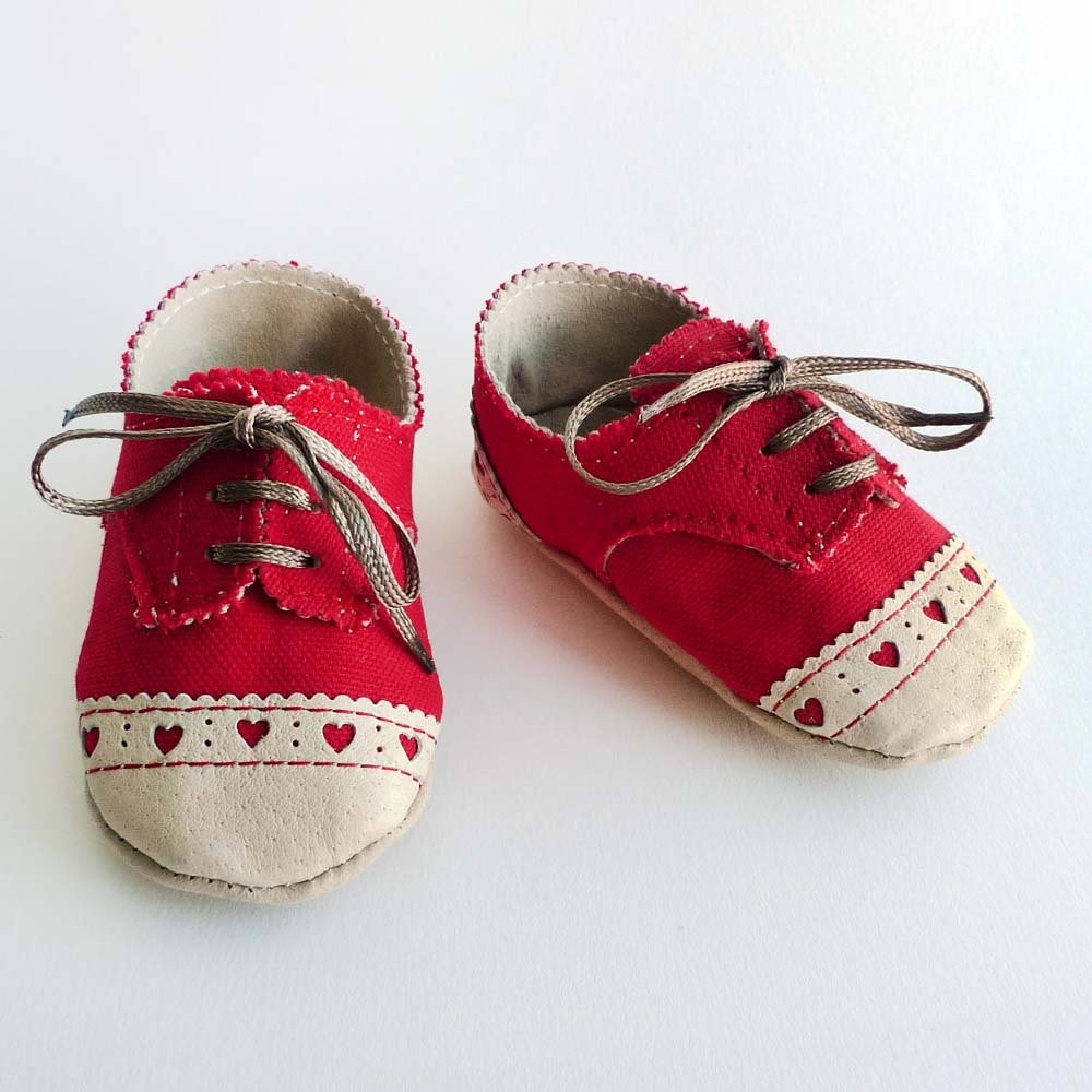 baby shoes canvas with brogued leather crib by ajalor