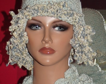 Flapper Hat Cloche  Cotton Crochet 1920 style Personalized  Headdress Millinery ArtWork Trim