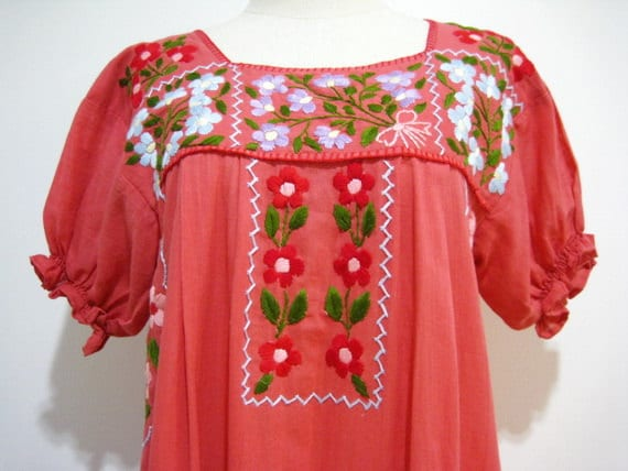 Mexican Embroidered Dress Cotton Puff Sleeves Tunic