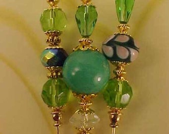 3 Diff Hatpins Beautiful Green Lampwork Beads 6 inches long. .We sell hat stick  pin blanks,make your own,findings supplies...S33