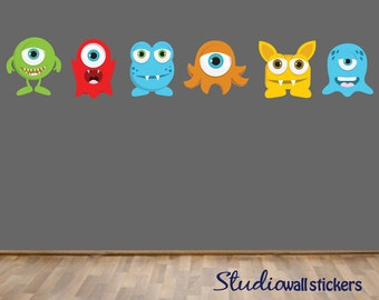 REUSABLE Monsters Wall Decal - Childrens Fabric Wall Decal
