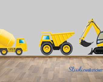 REUSABLE Construction Truck Wall Decals - Childrens Fabric Wall Decal - extra large