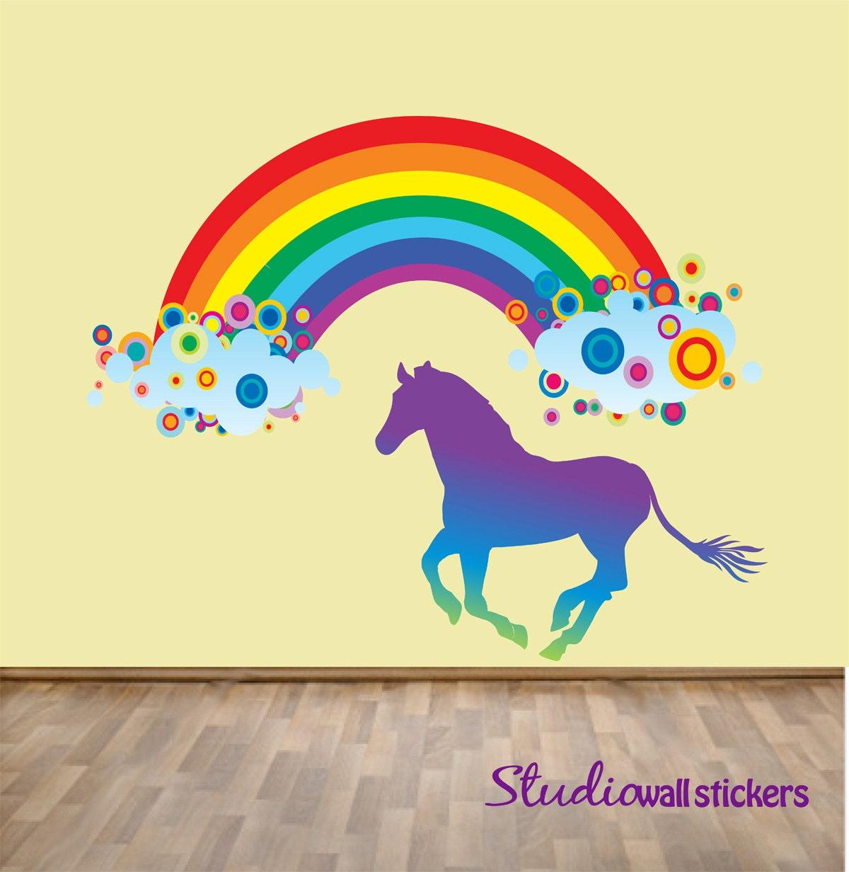 Rainbow Wall Decor Stickers : Reusable rainbow horse wall decal childrens fabric