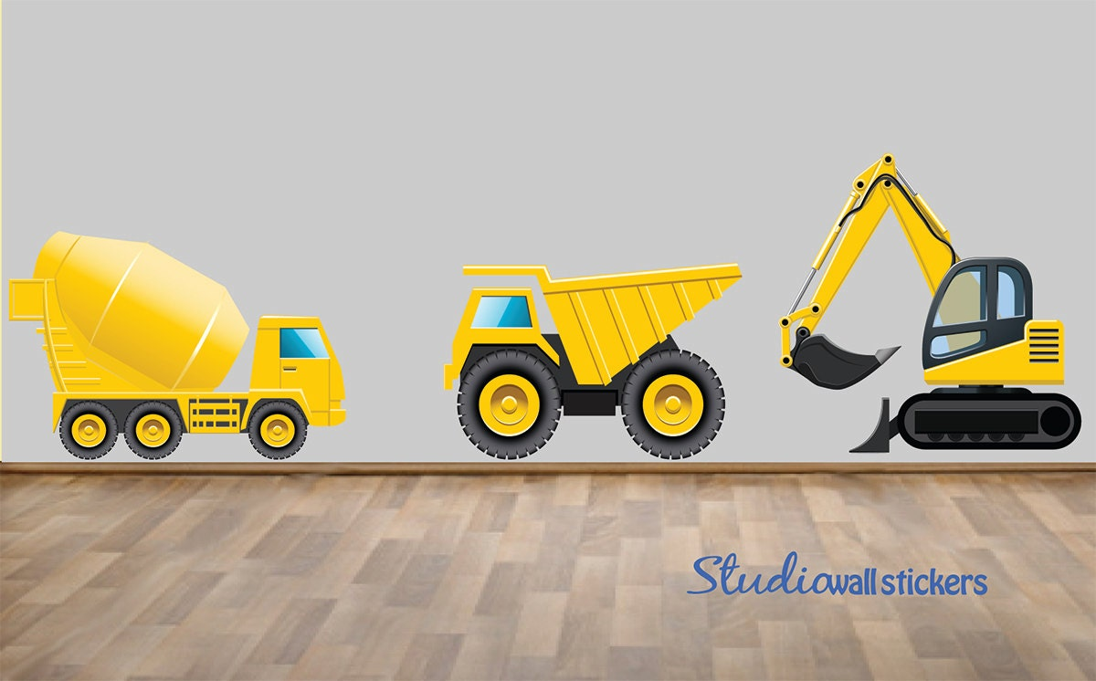 Wall stickers extra - Reusable Construction Truck Wall Decals Childrens Fabric Wall Decal Extra Large