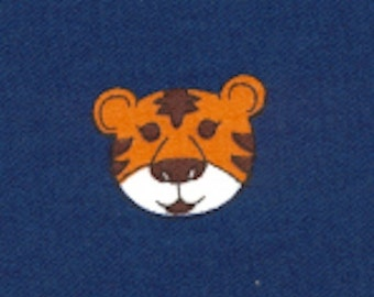 """Auburn Tigers on Navy Twill, 60"""" wide, 100% Cotton, Fabric Finders Inc"""