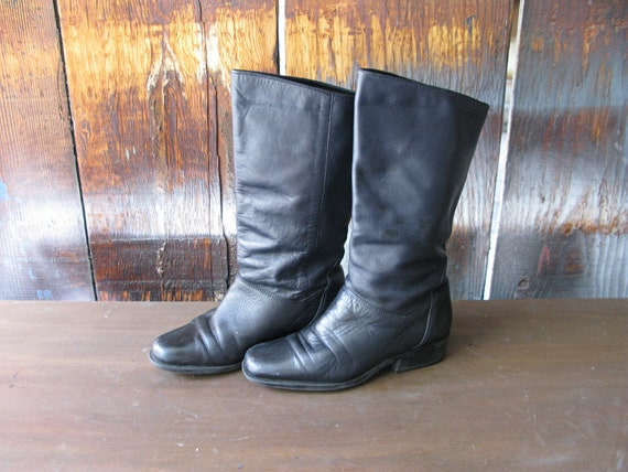 Vintage Black Leather Riding Equestrian Boots - Size 7