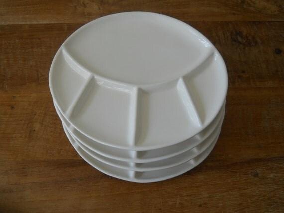 Cream Divided Plates