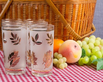 Frosted Highball Glasses Libbey Golden Foliage