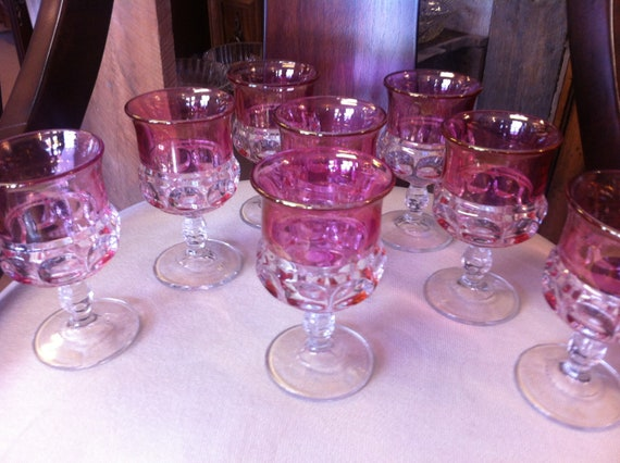 Tiffin-Franciscan King's Crown-Cranberry Flashed(Top Only) Water Glass