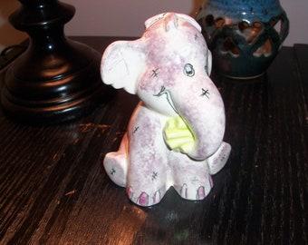 Vintage Ceramic Pottery Purple Elephant