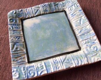 Handmade Ceramic Pottery Blue Trinket Dish