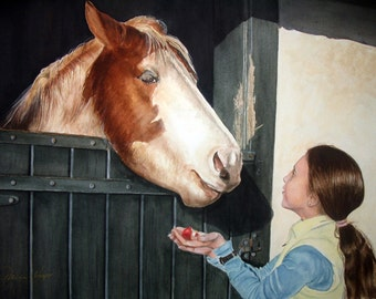 "ACEO Fine Art Print / From Original Watercolor / Of Olivia  Giving a Horse His Favorite Treat / Size 2.5""x 3.5"