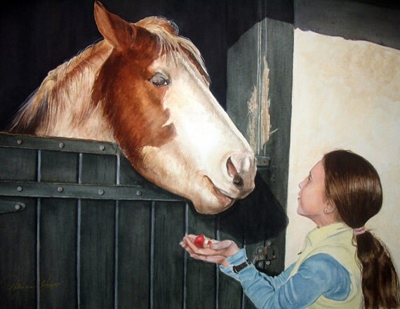 """ACEO Fine Art Print / From Original Watercolor / Of Olivia  Giving a Horse His Favorite Treat / Size 2.5""""x 3.5"""