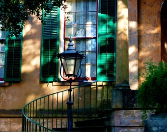 Travel Photography-Savannah's Owens-Thomas House- Architectural, Window, Entranceway, Georgia, Iron Railing, Southern, Fine Art Photography