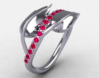 10K White Gold Rubies Leaf and Vine Wedding Ring, Engagement Ring NN113-10KWGR