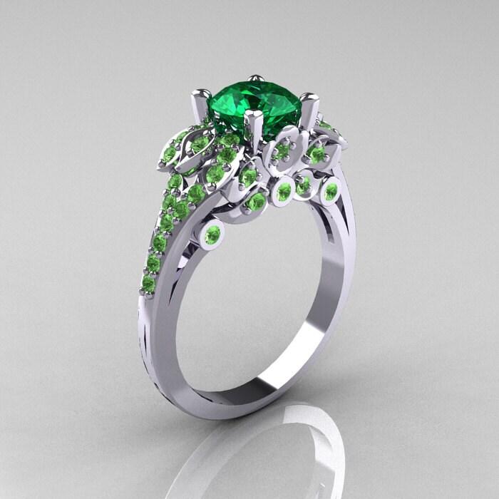 classic 14k white gold 1 0 ct emerald peridot blazer wedding