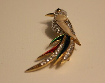 Vintage Mc Caw Brooch studded with Rhinestones set in Goldtone Enamel painted Red and Green