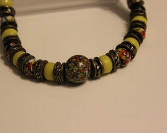 """Vintage 30"""" Multi Color Beaded Necklace on a Leather Cord"""
