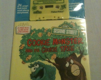 "Fisher Price Sesame Street Tape and Book ""Cookie Monster and the Cookie Tree"" new"
