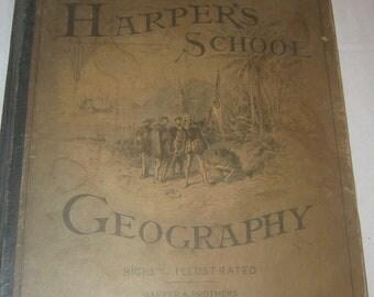 "Antique book ""Harper's School Geography"" Harper & Brothers 1880"