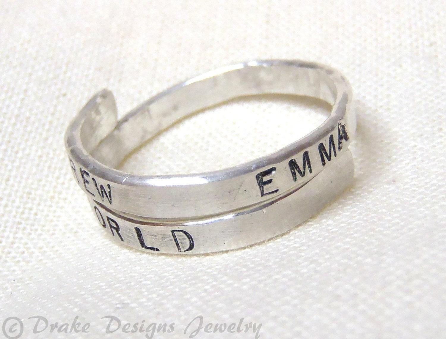 mothers ring sterling silver custom word or message gift