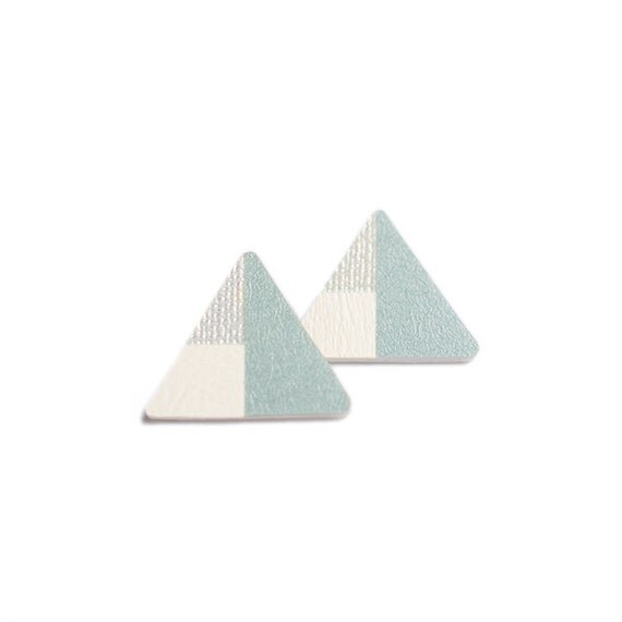 Geometric Triangle Earrings - Pastel color - Handcut-One of a kind